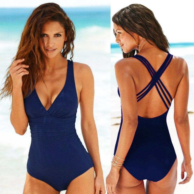 Large One-Piece Open Back Swimsuit High Grade Retro Deep V-Cross Solid Color Women's Swimsuit Women's Beach Suit Bikini Swimsuit mesh insert open back leaf print swimsuit