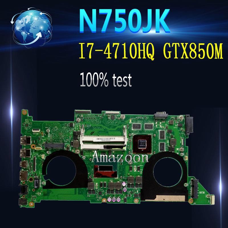 اللوحة الام للكمبيوتر المحمول امازون N750JK اللوحة الام ل Asus N750JK N750JV N750J اللوحة الام للجهاز المحمول HM86 I7-4710HQ/i7-4700HQ GTX850M 4G