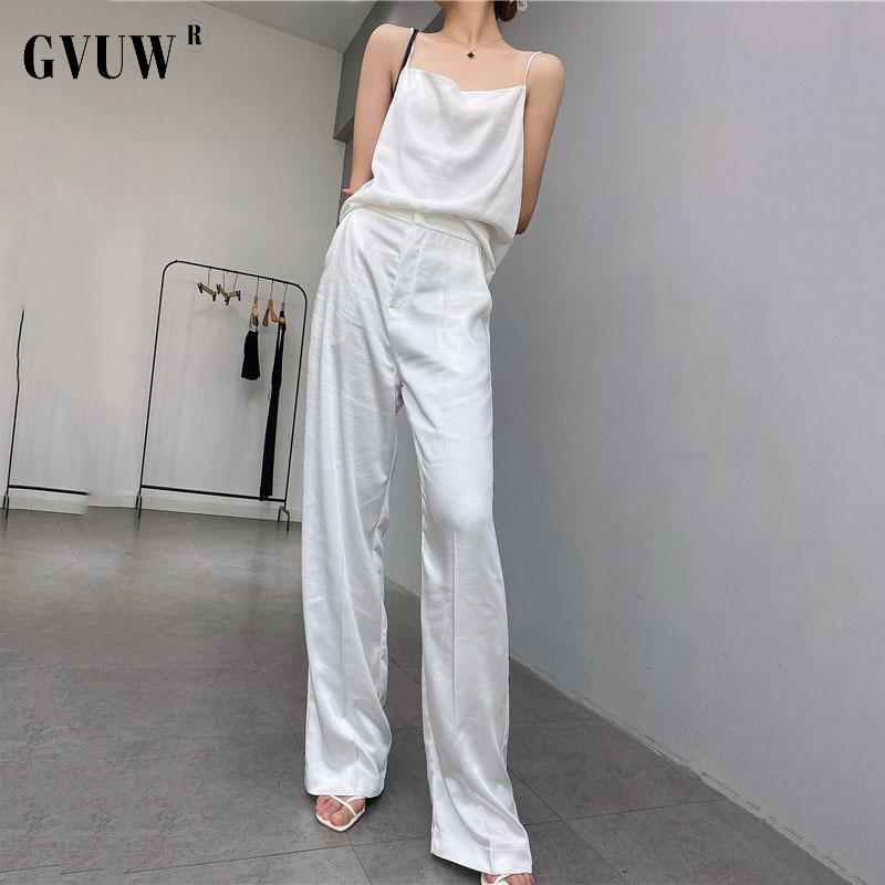 GVUW 2021 новые летние атласные широкие повседневные брюки женские тонкие прямые бимба скрыть фестиваль y lola оптовая продажа бесплатная достав...
