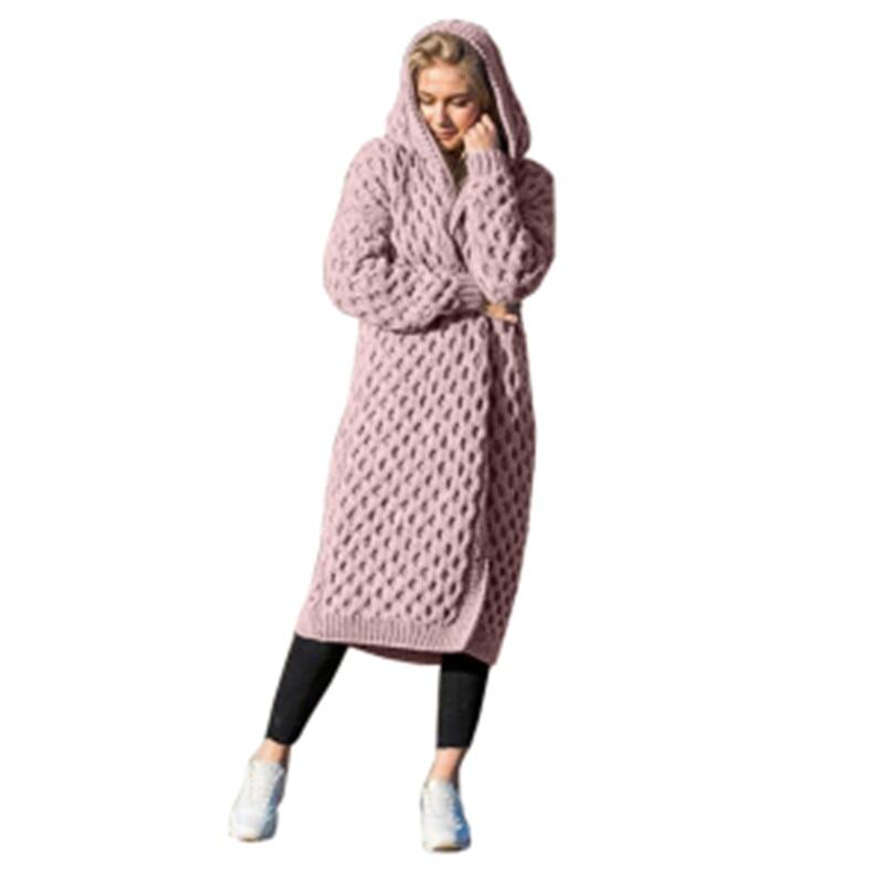 Chic otoño mujer sólido con capucha suéter tejido Cardigan largo de manga larga Jersey abrigo para mujer Cardigan abrigos