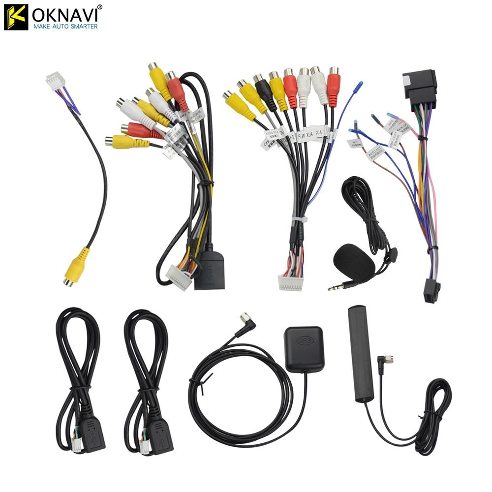 OKNAVI micrófono USB GPS cámara de visión trasera salida RCA AUX ranura para tarjeta SIM Radio convertidor 16PIN 4G Cable de alimentación para la navegación del coche