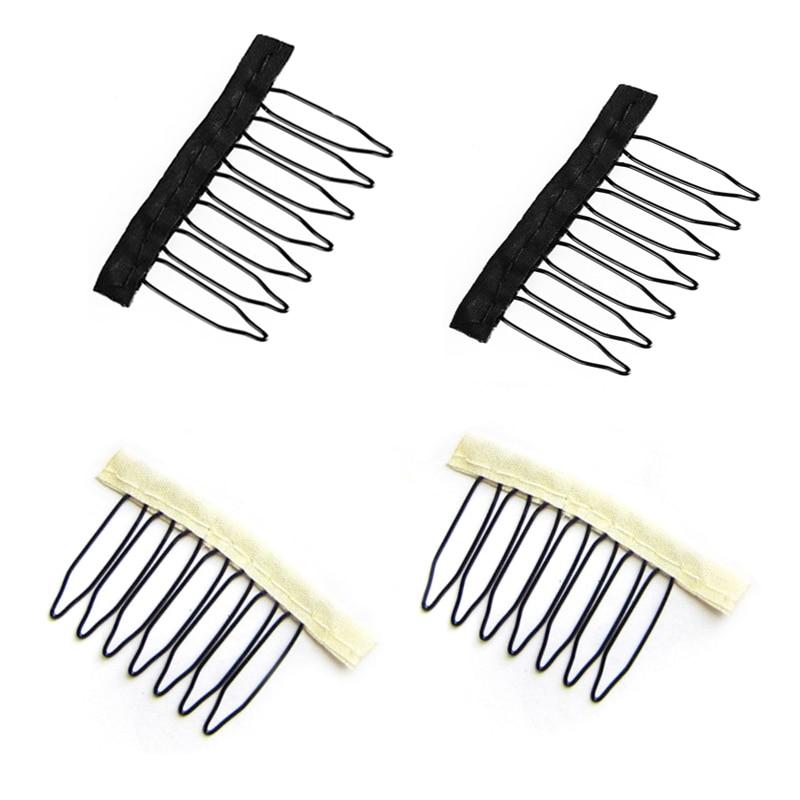 100 pçs de aço inoxidável com pano polyster 7 dentes peruca pentes e clipe para o laço completo peruca tampão peruca acessórios preto cor loira