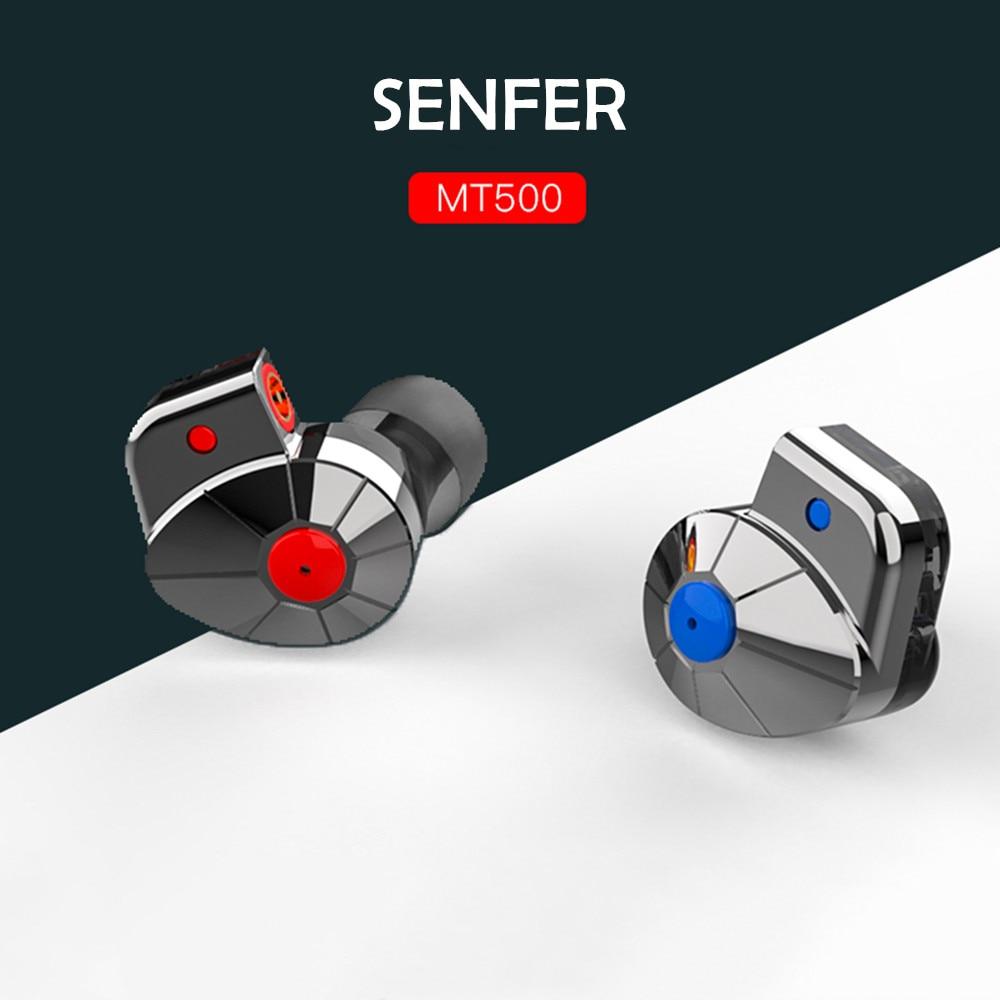 SENFER MT500 شقة النولز التوازن المحرك الديناميكي سماعات أذن داخل الأذن HIFI رصد DJ عالية الجودة سماعة استبدال كابل