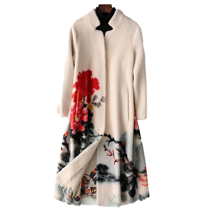 Winter Jacket Women Vintage Floral Printed Real Genuine Fur Coat  Luxury Clothes Mid-Length Wool Overcoats Chaquetas Para Mujer