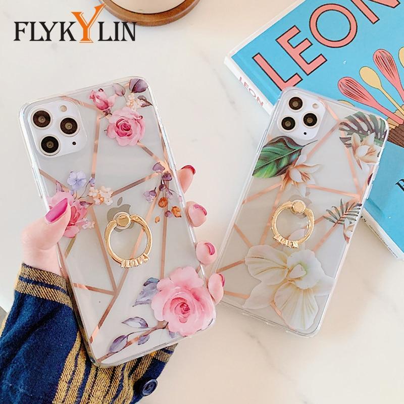 Carcasa con soporte de anillo FLYKYLIN para iphone XS XR X 11 Pro Max 7 8 Plus funda trasera de lujo con flores de empalme geométrico
