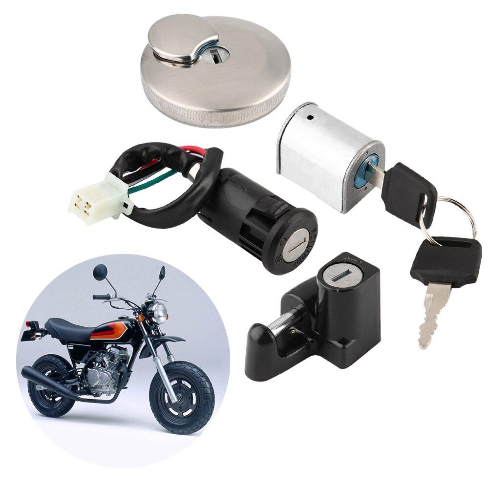 Bloqueo de ignición tanques de combustible tapa Cierre de casco bloqueo antirrobo Kit de bloqueo Universal para Honda Monkey Ape ABS plástico + aleación de aluminio