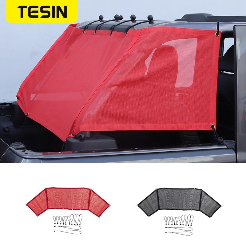 TESIN 4 Door Rear Trunk Sunshade Mesh Cover Sun Visor Anti UV Protection for Jeep Wrangler JL 2018 2019 Car Exterior Accessories