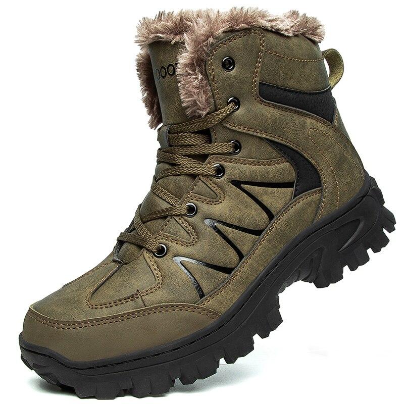 Брендовые зимние мужские ботинки, плюшевые супертеплые зимние ботинки для мужчин, кроссовки, мужские водонепроницаемые ботильоны, уличная ...