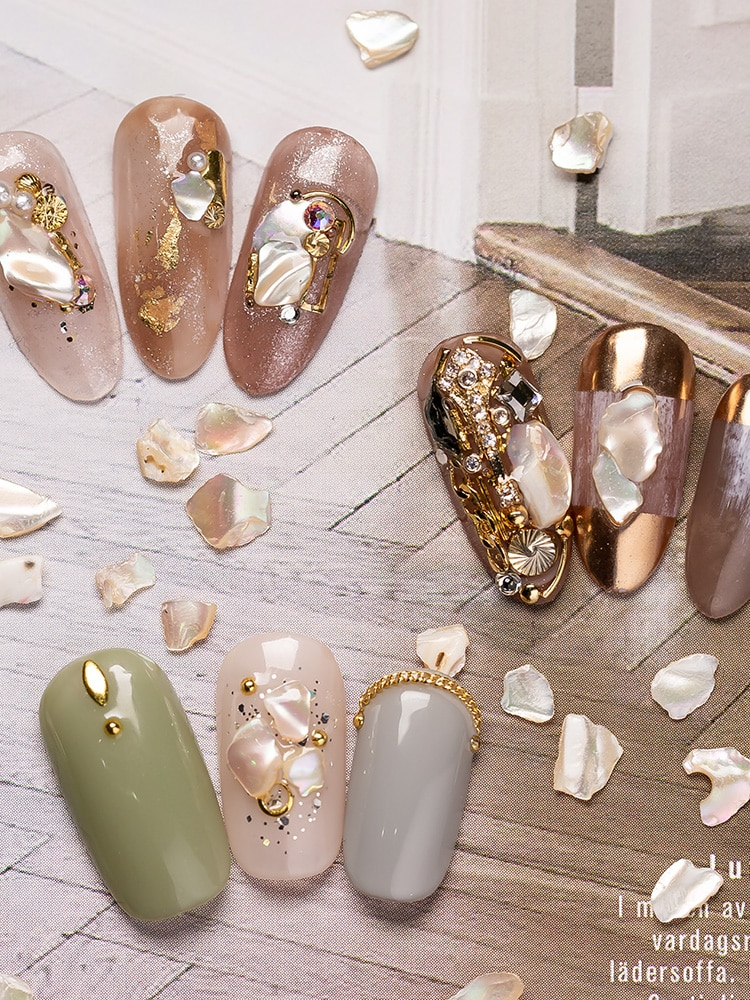 Japanese nail art decoration Natural Irregular Golden Champagne thick seashell gemstone Polished Highlight Nail art Jewelry