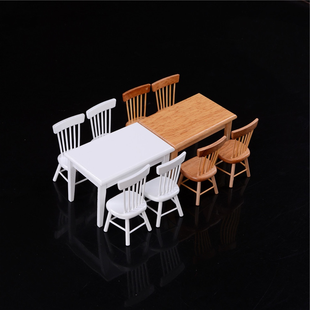 1/12 Miniature Wooden Dining Chair Table Furniture Set For Doll house Miniature Kitchen Food Pretend Play Toys 5Pcs/set 5pcs dining chair set 4 chairs 1 dining table set wooden metal furniture brown black beige home kitchen office furniture