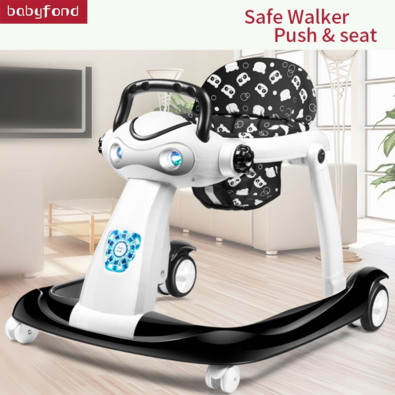 wholesale baby walker with 8 wheels anti runover multi function skating car with music toys learning walkers walking assistant Multi-function Baby Walker With Wheel Baby Walk Learning Anti Rollover Foldable Wheel Walker Light Seat Car 6-24 Months