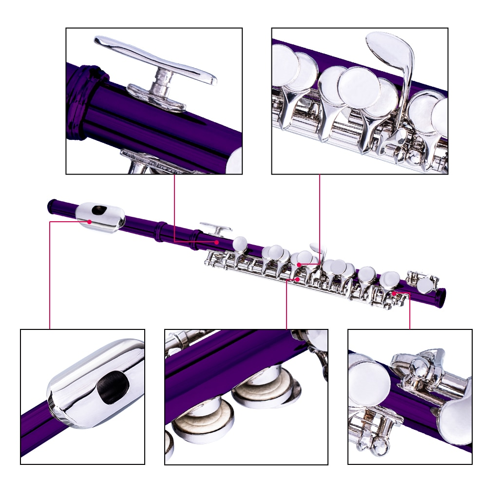 NAOMI Excellent Nickel Plated C Key Piccolo Purple Color W/ Case Cleaning Rod And Cloth And Gloves Cupronickel Piccolo Set enlarge