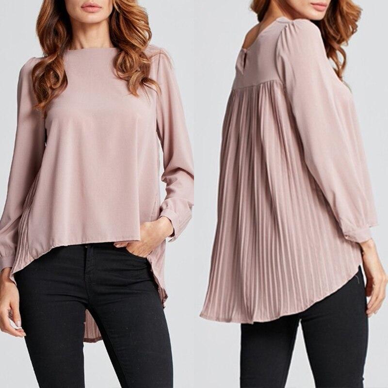 ZANZEA-Blusa asimétrica de gasa para mujer, elegante Blusa plisada OL, camisas de manga larga de verano para mujer de talla grande, 2020