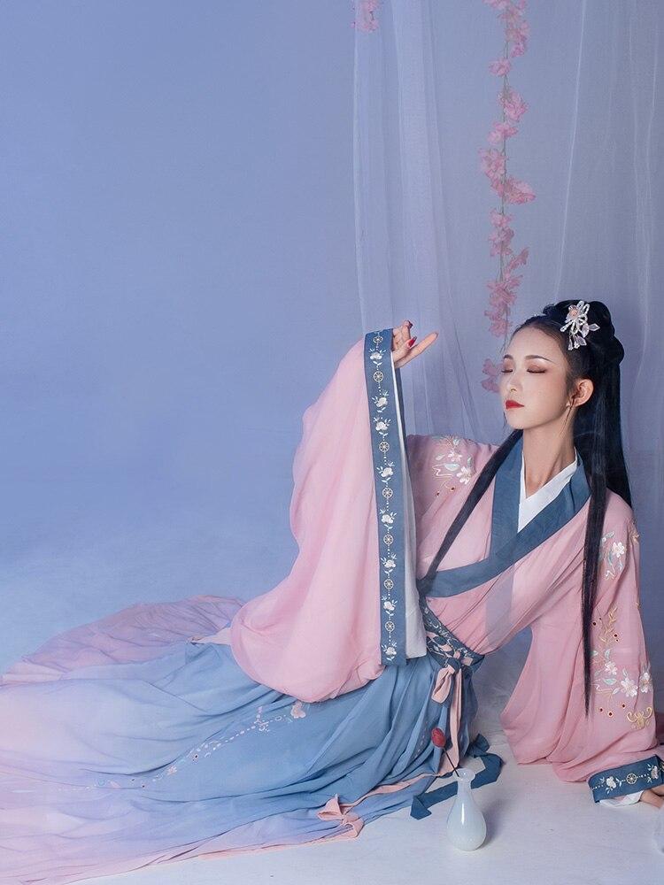 Women Hanfu Chinese Ancient Tang Dynasty Princess Dance Costume Fairy Dress Traditional Hanfu Elegance Oriental Folk Dance Wear
