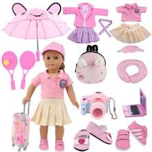 Doll Clothes Dsiney Elsa Dress Kitty Pajamas Uniform Shoes Fit 18 Inch American of Girl&43 CM Reborn