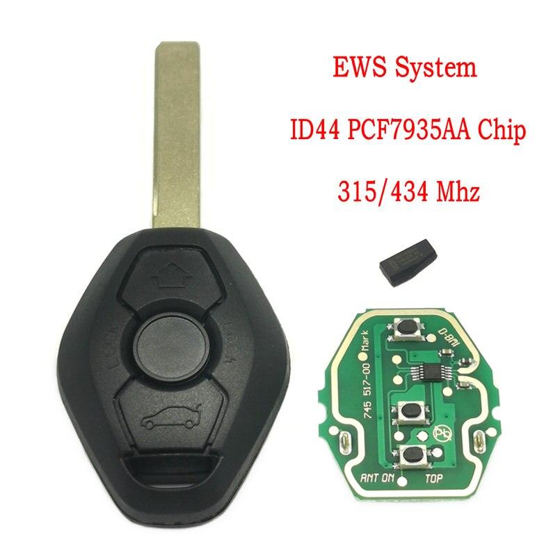 Автомобильный ключ дистанционного управления Datong, для BMW E38 E39 E46 1 3 5 7 Series 433 МГц ID44 чип PCF7935, автомобильный смарт-ключ с логотипом