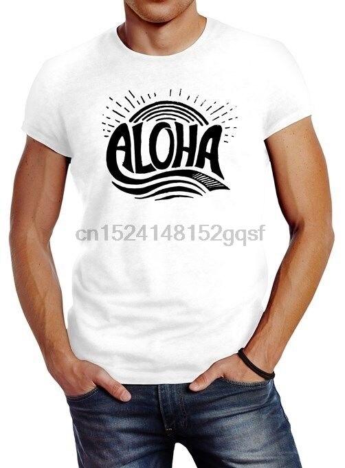 Herren camiseta Aloha Wellen surfista Sommer Slim Neverless hombres camiseta Camisa de algodón de manga corta Fitness camisetas 2018