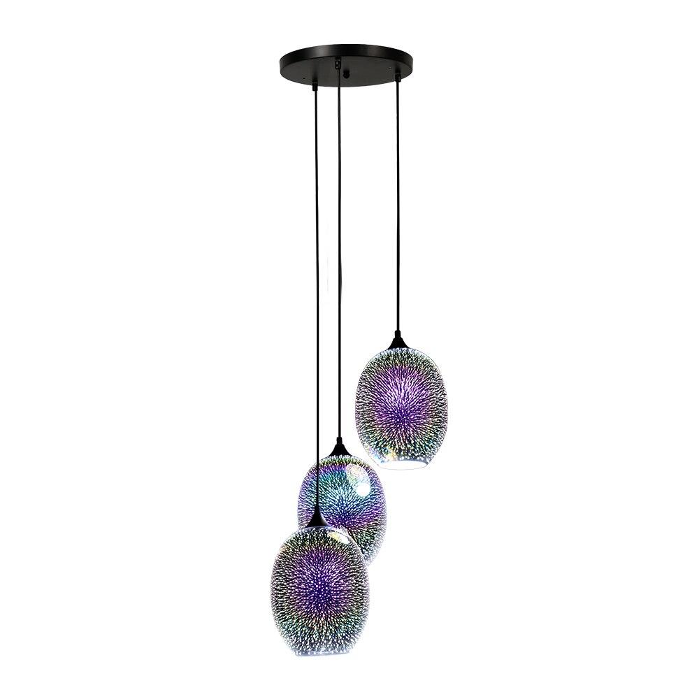 مصباح زجاجي معلق LED على الطراز الاسكندنافي مع 3 مصابيح E27 ، تصميم إبداعي حديث ثلاثي الأبعاد ، مصباح معلق ملون للمطعم ، بار ، متجر الملابس