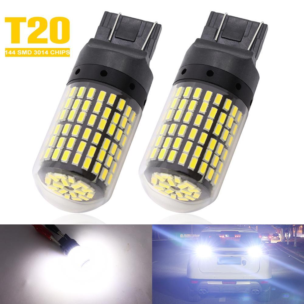 2 uds Luz de marcha atrás para coche 7440 T20 LED 3014 144 SMD CHIPS bombillas No Hyper Flash Canbus Led luz de giro blanca 12V lámpara Led para coches