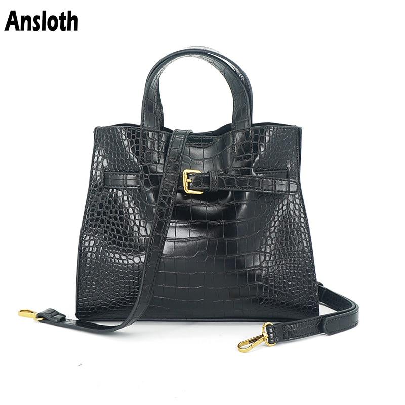 Ansloth Fashion Crocodile Pattern Shoulder Bags Leather Large Capacity Women Handbags Design 2020 New Crossbody Bags Lady HPS999
