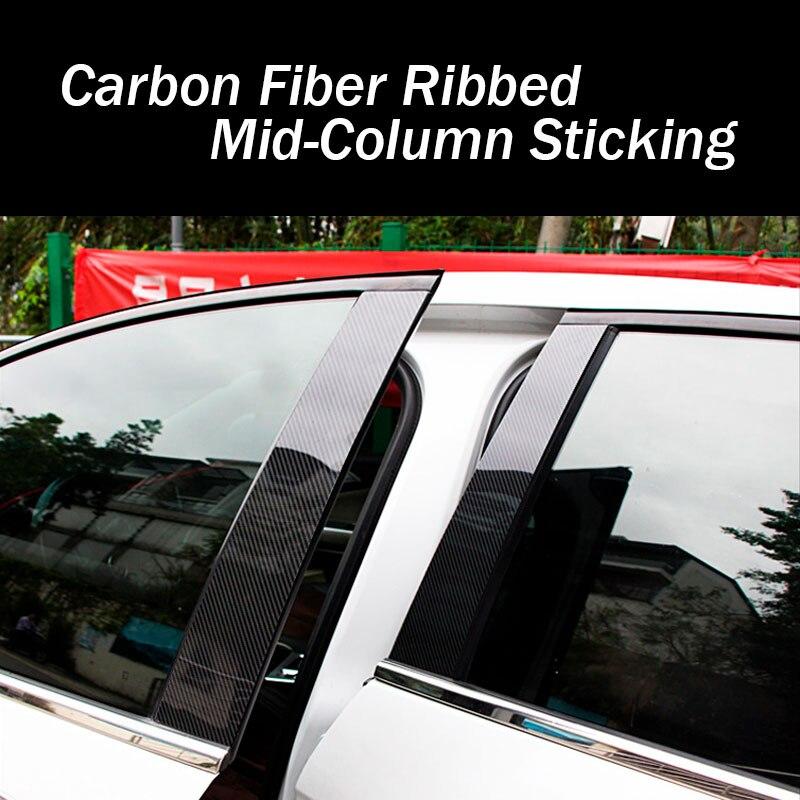 Un conjunto de pilares columna decorativo pegatina embellecedora para Roewe 360/I5/RX3/RX5 ventana Panel Exterior Accesorios fibra de carbono