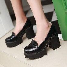 High Heels Pumps Platform Block Heel Women Shoes Goth Lolita Cosplay Girls Uniform Shoes Round Toe S