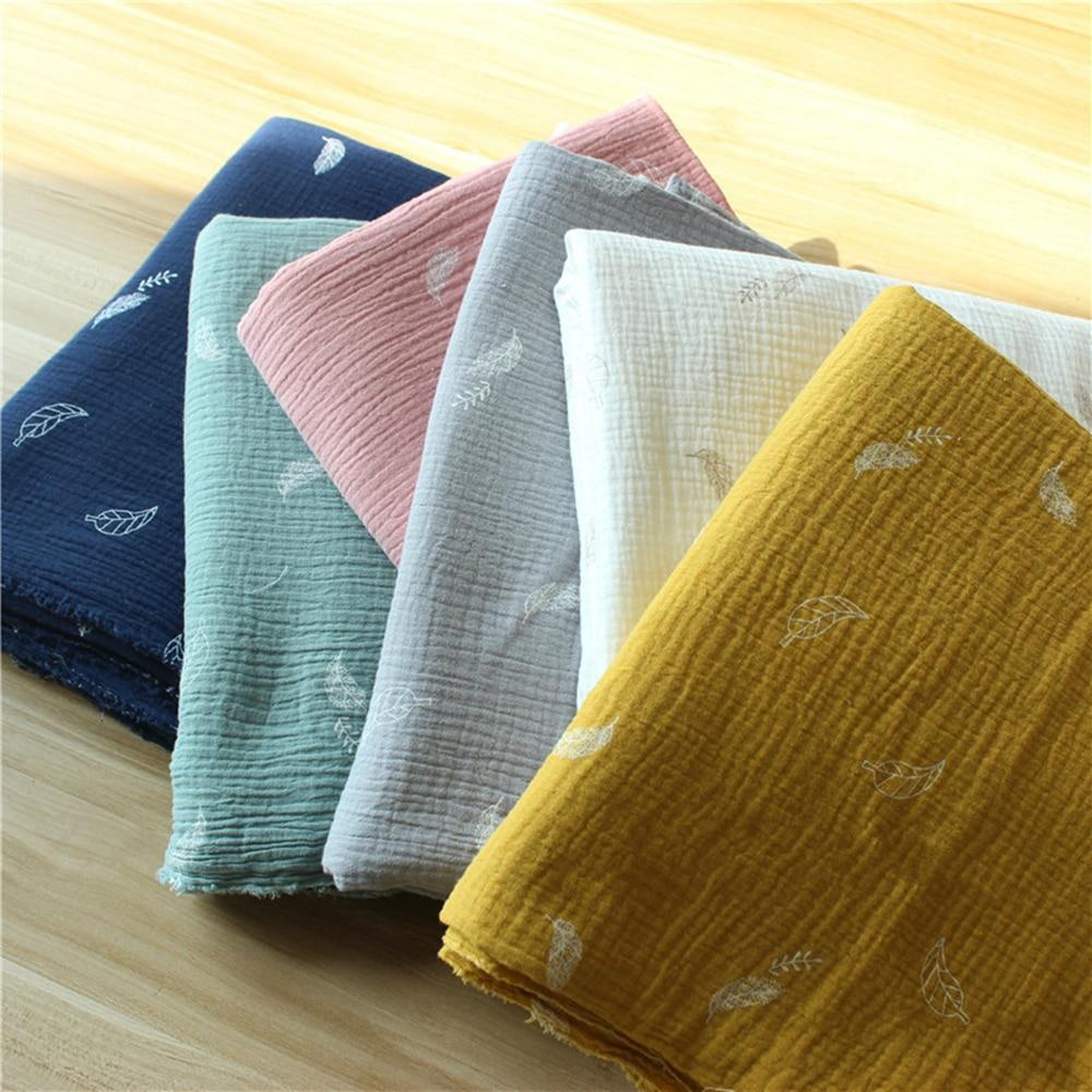135cm X50cm High Quality Soft Thin Double Crepe Leaves Texture Cotton Fabric, Make Shirt, Dress, Underwear, Cloth 160g/m