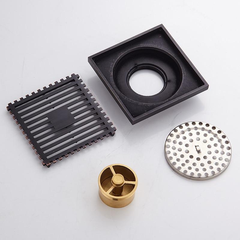 Купить с кэшбэком Toilet Shower Floor Drain Square Brass Black Bathroom Sink Floor Waste Grates Shower Linear Covers Tile Insert