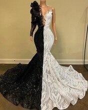 Noir blanc Robe De bal sirène une épaule manches longues dentelle paillettes sud-africain Robe De bal robes De soirée Robe De soirée