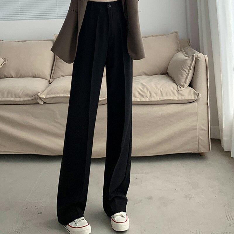 المرأة واسعة الساق السراويل عالية الخصر تدلى الربيع والخريف جديد رداء غير رسمية السراويل التخسيس فضفاض صغير التنين الذيل مستقيم
