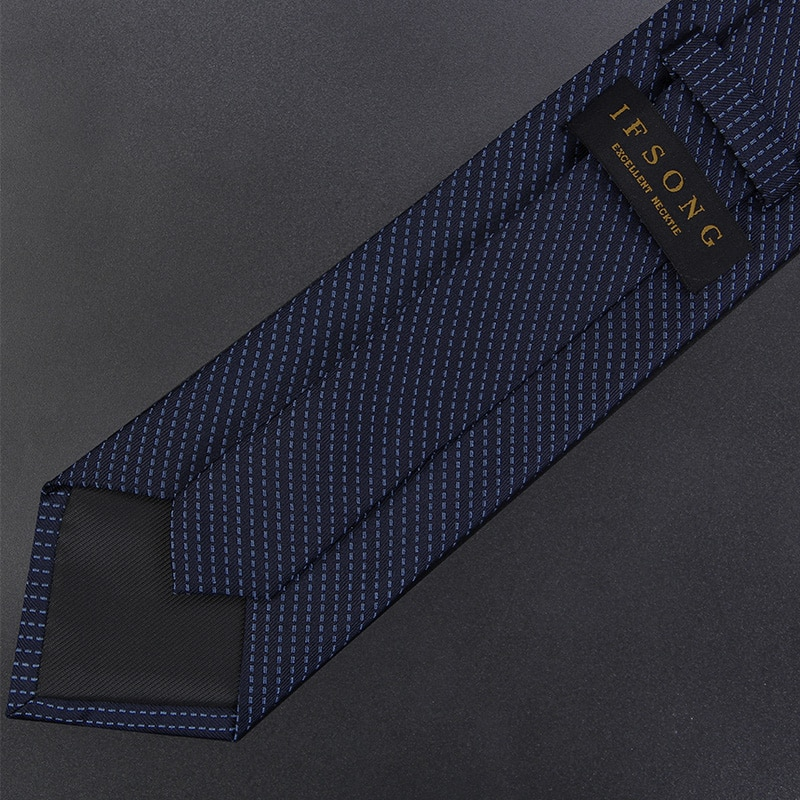 High Quality 2019 New Designers Brands Fashion Business 7cm Slim Ties for Men Dotted Line Blue Silk Necktie Work with Gift Box