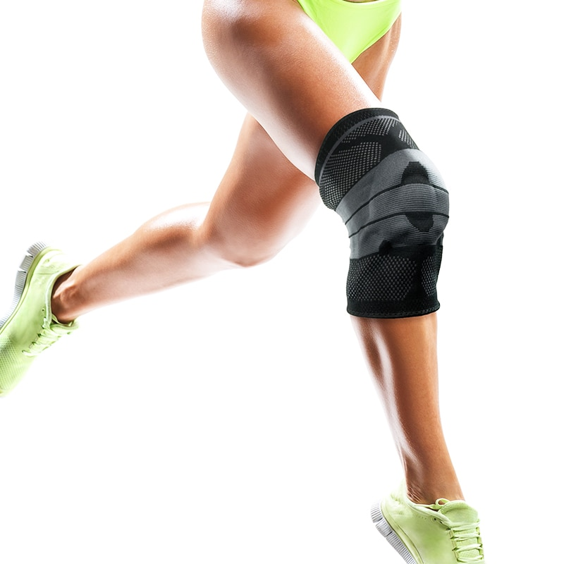 MASEDA Black thickened silicone spring strip support kneepad fitness movement kneepad pressure protection movement