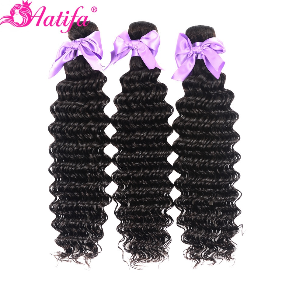 Mechones brasileños de ondas profundas 100% extensiones de cabello humano 3/4 mechones cabello Remy 10-28 pulgadas extensión de cabello Color Natural Aatifa Hair