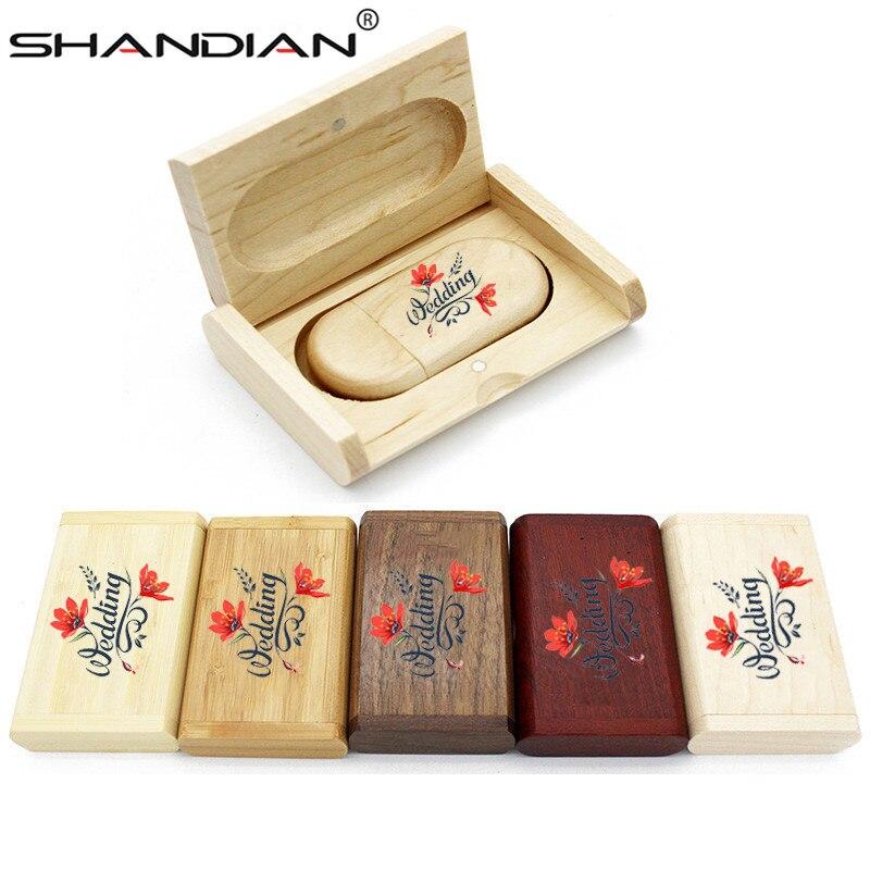 SHANDIAN 1PCS free custom logo Color silk screen Maple wooden usb 16G 32GB 64GB Memory Stick Flash Drive Pen Driver wedding gift