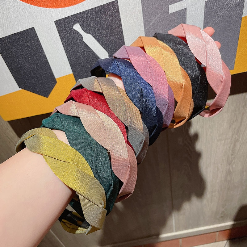 Trendy Solid Color Wave Hairbands For Women Girls Korean Retro Bright Silk Cross Braided Headband Hy