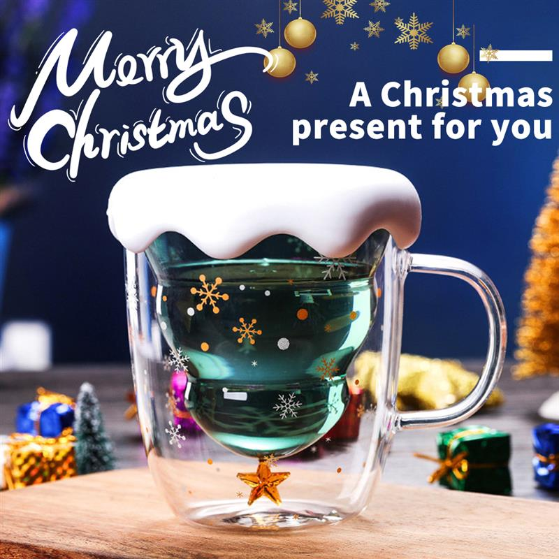 Taza de café de vidrio doble vidrio árbol de Navidad con tapa copa de vidrio resistente a altas temperaturas árbol de Navidad copa de deseos