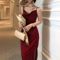 modest dress women elegant sexy backless dresses womenes summer v neck vintage casual red spaghetti strap clothing cyber y2k