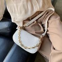 fashion crocodile pattern baguette bags mini pu leather shoulder bags for women 2020 chain design luxury hand bag female travel
