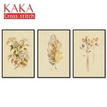Kits de point de croix   Ensembles de broderie avec motif imprimé, toile 11CT pour peinture de décoration de maison, fleurs complètes NCKF210