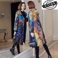 Женская зимняя пуховая куртка, женские парки 2021, корейское пальто на белом утином пуху с цветочным принтом, женские длинные пуховики, женски...