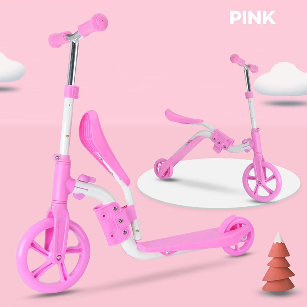 Scooter para crianças com assento dobrável 2-em-1 ajustável kick scooter skate walker equilíbrio bicicleta