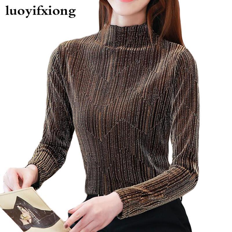 Blusa de encaje de las mujeres camisas de manga larga otoño moda...