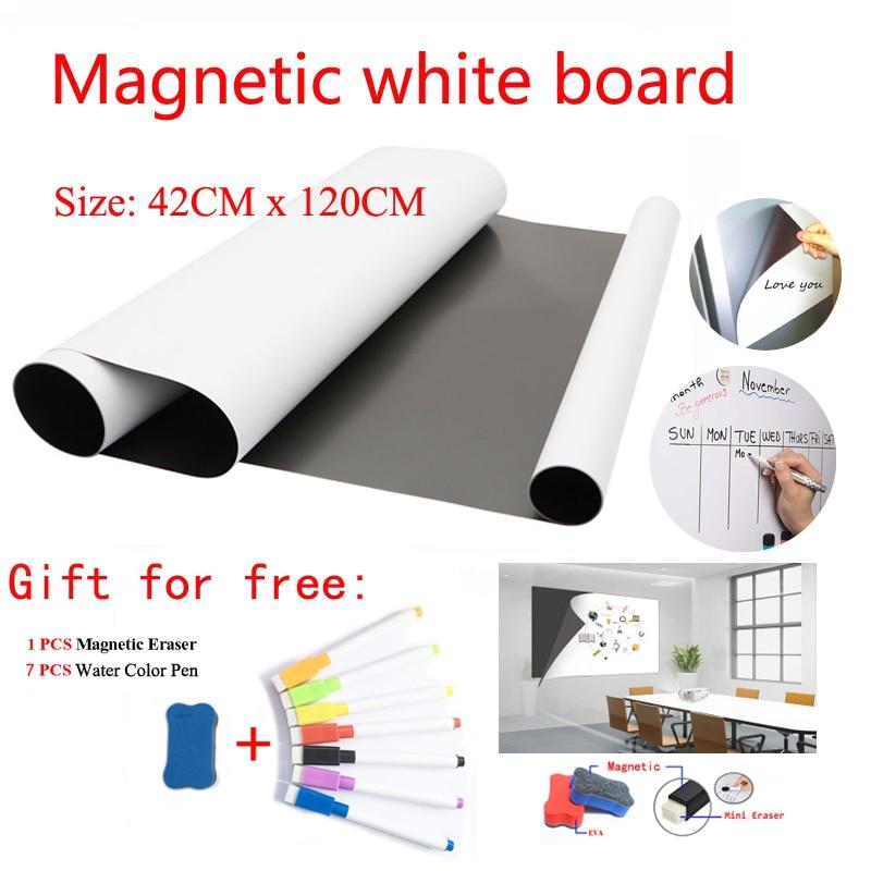 Магнитная доска размером 42 см x 120 см, стикеры на холодильник, сухой стираемый календарь, Детская школьная доска, памятка, белая доска, подаро...