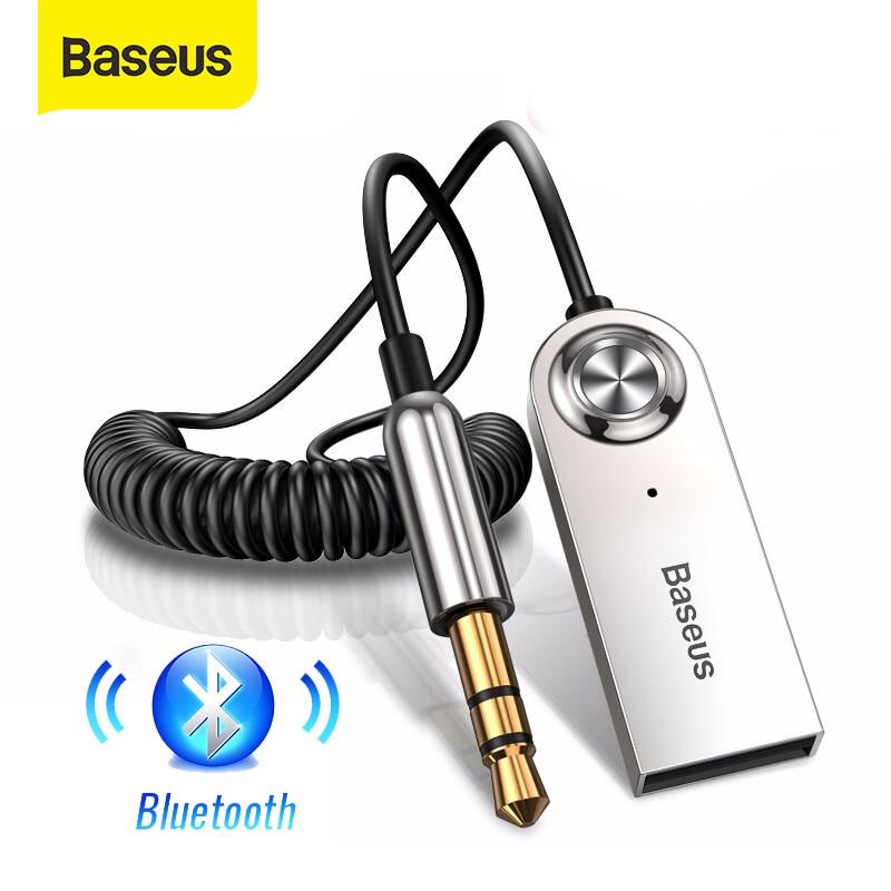 Aux Bluetooth адаптер Baseus для автомобиля, разъем 3,5 мм, USB Bluetooth 5,0, приемник, динамик, автомобильный комплект громкой связи, аудио, музыкальный перед...