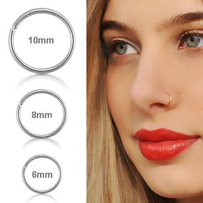 6 мм 8 мм 10 мм маленькое тонкое стальное кольцо-обруч для носа и губ C Тип Кольцо для пирсинга перегородка кольцо ювелирные изделия для тела