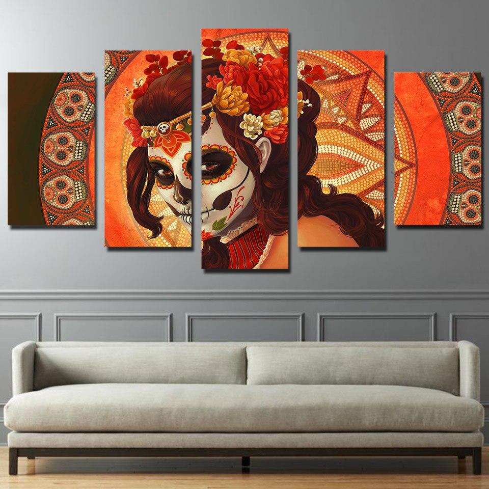 5 piezas HD lienzo arte HD impresión día muerto calavera azúcar grupo de lienzo pintura cuadro Modular