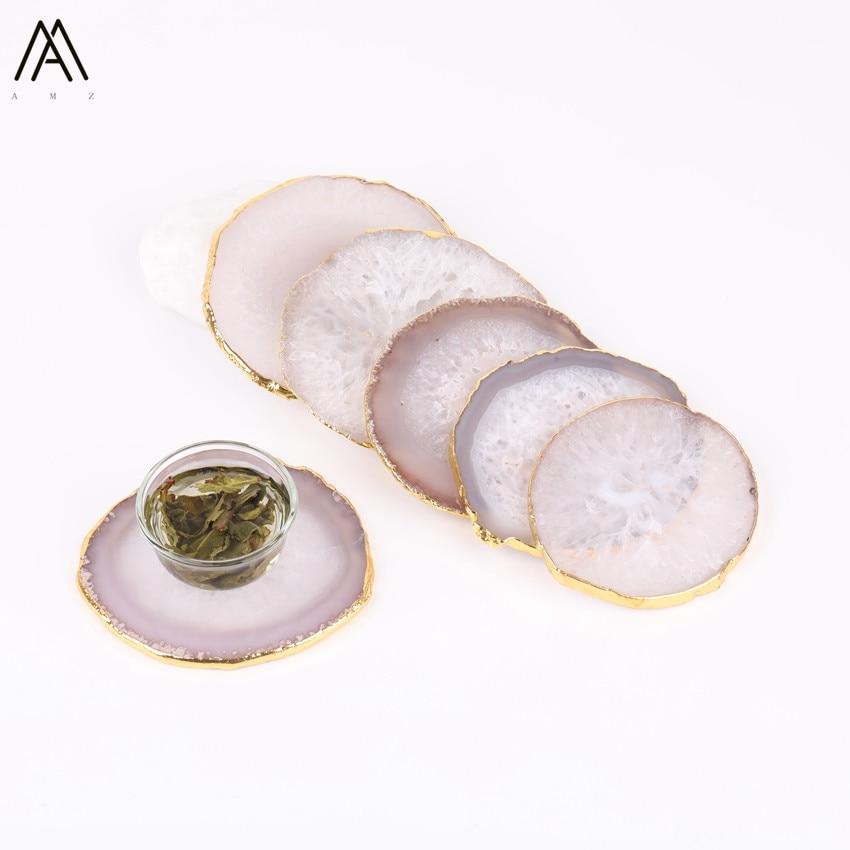 3 uds aprox. 60-80mm chapado en oro bordes naturales ágatas blancas forma redonda bebida de posavasos ágatas tazas Mat CX-08AMAF