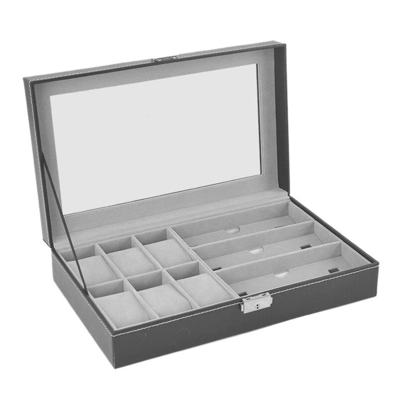 Gläser Lagerung Box Synthetische Leder Transparente Abdeckung Exposition Box mit 6 Grids und 3 Lagerung Gläser