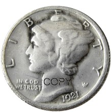 US Mercury Dime 1921 P/D, pièces de reproduction plaquées argent