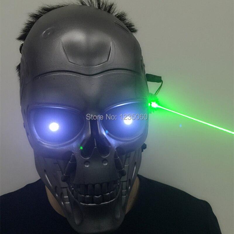 Máscara Led brillantes verdosos Laserman Halloween fantasmas iluminar puesta en escena Headwear verde láser fiesta mascarada máscaras